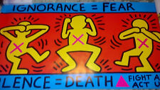 Keith Haring Original ACT UP Poster 1989 Lithograph damaged edge IGNORANCE=FEAR