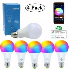 4 Pack Smart Phone Color Light Bulb WiFi for Amazon Alexa/Google Home Music Sync