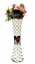 Gorgeous WHITE 55CM Metal Galvanise Soft Wicker Vase Diamante Home Decor XMAS
