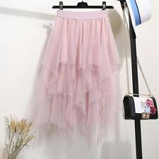 Women's Sheer Tutu Skirt Tulle Mesh Layered Asymmetrical A Line Midi Skirt