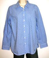Talbots Women's Long Sleeve Print Cotton Button-Up Shirt Size Medium