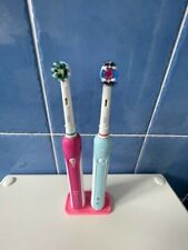 Electric toothbrush stand/holder for two Braun Oral B toothbrushes pink / blue
