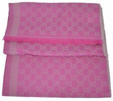 NEW Gucci 282390 Large Pink Grey Wool Silk GG Guccissima Logo Scarf Shawl