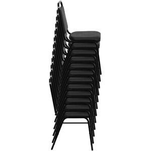Back Stacking Banquet Chair in Black Vinyl - Black Frame