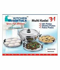 Induction Steamer Cooker Kadai 3 in 1 S. Steel (2 idli,2 Dhokla,1 Patra Plate)