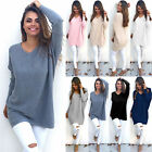 Casual Loose Long Sleeve Sweater Womens V-neck Knitwear Pullover Jumper Tops LN