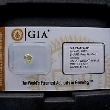 GIA Cert 0.51ct Pear cut diamond NATURAL FANCY YELLOW  VS2  SEALED. A Beauty!