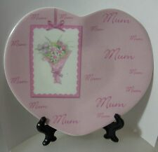 "UNITY ""MUM - HEART SHAPE PLATE WITH STAND"" 74882 MINT IN BOX"