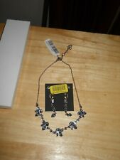 Givenchy Smokey Blue Swarovsky Crystal Floral Necklace/Earrings Set Silver Tone