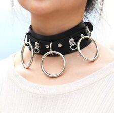 schwarz Halskette Halsband 3 dreifach O RING HALS BDSM Lederband Fetisch