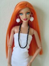 OOAK Barbie doll, reroot, Orange hair, fashionista Bambi face, Articulated