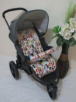 Handmade pram liner set-Coloured feathers-100% cotton*Funky babyz