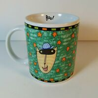 """Vintage SUE DREAMER for Silvestri """"Boo!"""" Cat with Mask Halloween Coffee Mug"""