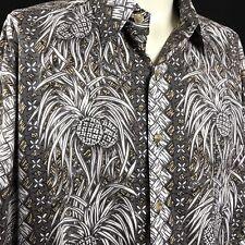 Kahala Hawaiian Camp Shirt 100% Cotton Lawn LARGE USA Gray Pineapples