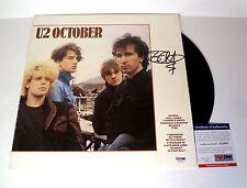 The Edge U2 Signed Autograph October Vinyl Record Album PSA/DNA COA