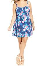 NWT Jessica Simpson 3x Rockabilly Floral Buster Fit Flare Sundress Madelynn Blue