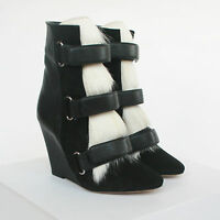 ISABEL MARANT $1,560 leather goat fur Pierce wedges runway booties boots 35 NEW