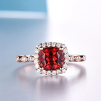 1.6ct Cushion Cut Red Garnet Engagement Ring Diamond Halo 14k Rose Gold Finish