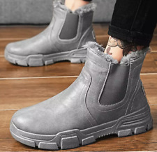 MENS WINTER FUR LINING WARM SNOW BOOTS THICKEN ANKLE BOOTS PU LEATHER SHOES hot