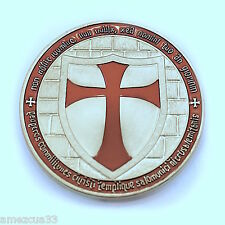 """Silver  Knight Templar 1.5"""" Round two face Coin Heavy Alloy For Templar Military"""