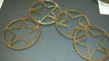 """4 ANTIQUE-STYLE RUSTIC WESTERN WROUGHT IRON METAL CIRCLE BARN STAR DECOR 6.25"""""""