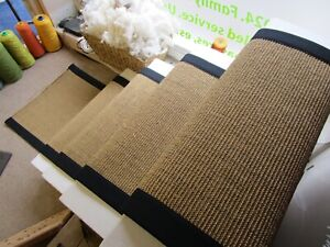 60cm Wide Gold Natural Beige Sisal Stair Runner Black Herringbone Tape Border