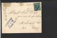 PEORIA, ILLINOIS 1894, REGISTERED COVER,#226, TO SAINT LOUIS MISSOURI.