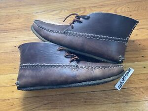 Arrow Moccasin Lace Boot Crepe Chrome Excel Leather Size 10 Quoddy Carl Dyer