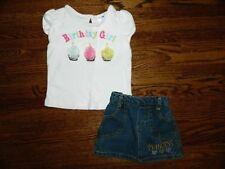 "Gir'ls Gymboree ""Birthday Girl"" Top & Denim Princess Skirt Size 12/18 Months"