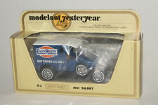 MATCHBOX MODELS OF YESTERYEAR Y-5 1927 TALBOT, EVERREADY BATTERIES, BOXED