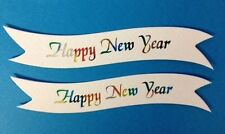 10 MULTI COLOUR HAPPY NEW YEAR BANNER CARD MAKING CRAFT EMBELLISHMENTS CLEARANCE