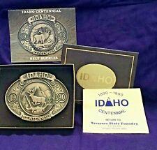 IDAHO Centennial 1890-1990 Commemorative Bronze Belt Buckle Mule Deer New Mint