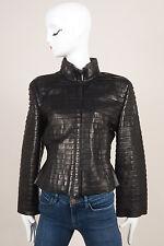 Giorgio Armani Runway Black Tiered Leather Jacket SZ 46