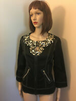 JUST B Sz S Fitted Black Princess Seam Zipper JACKET Embellished Bling Coin Trim