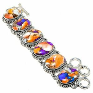 "Spiny Oyster Copper Turquoise Gemstone 925 Sterling Silver Bracelet 7-8"""