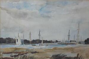 Yachts on an Estuary Massachusetts? Watercolour Homer Wayland Colby 1946