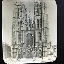 Antique Magic Lantern Glass Slide Photo The Cathedral Of St. Gudule