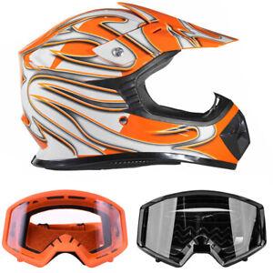 Youth Orange Kids Motocross DOT Helmet With Black or Orange Goggles ATV UTV MX