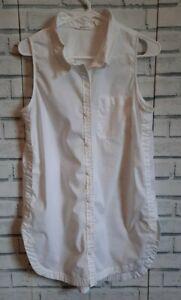 Athleta Women's Size M Sleeveless Blouse Solid White Button Front Collar Pocket