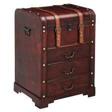Traditional Style Travel Trunk Cabinet With Drawers Plywood Leather Effect