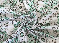 Indian Green Floral Fabric Hand Block Handmade Printed Clothes 10 Yards Crafts