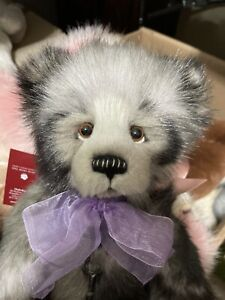 KATE Charlie Bears 14 inch Gorgeous bear! BlackTipped Gray plush fur!