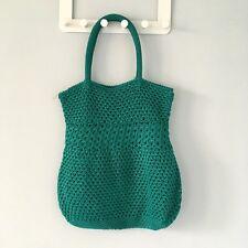 Benetton Teal Green Crochet Beach Bag Tote Purse
