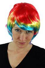 Wig Carnaval Halloween MULTICOLOR Pelo corto Bob Ave del paraiso