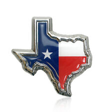 Texas Flag in TX Shape with Color Chrome Plated Metal Premium Car Auto Emblem