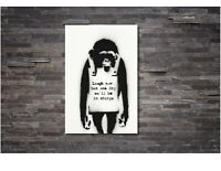 Monkey-Laugh-Now BANKSY CANVAS WALL ART PRINT