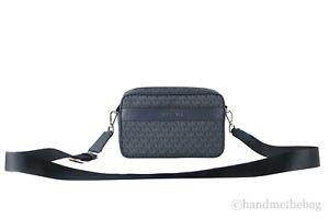 Michael Kors Kenly Signature PVC Leather Large Pocket Crossbody Bag Handbag