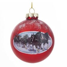 Christmas Holiday NEW * Budweiser Clydesdales * Glass Ball Ornament Horse 3.5 In