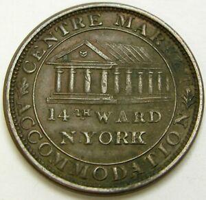 USA Center Market Accommodation New York 1837 Hard Times Token - VF/XF - 248 *