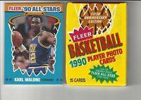 1990 Fleer Karl Malone #7ALL STAR Basketball Card + 1 Unopened 90 Fleer Wax Pack